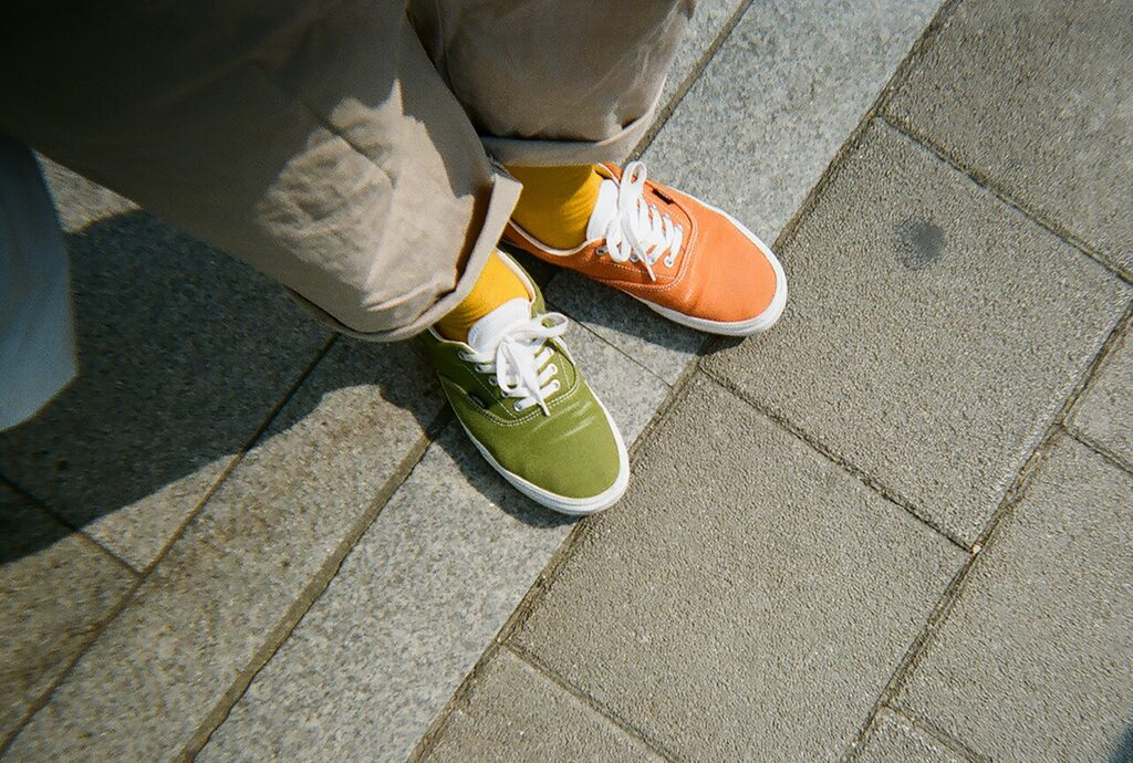 shoes in two different colours
