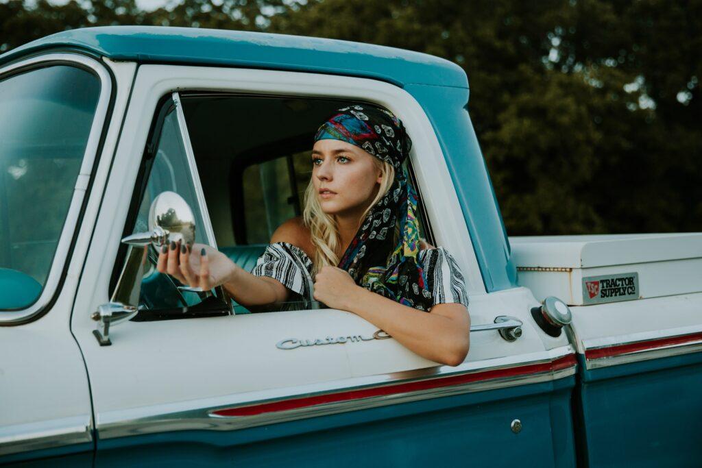 woman in pickup